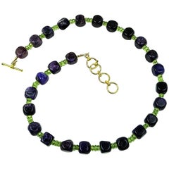 Amethyst Cubes with Peridot accents Necklace