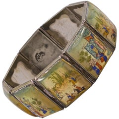 Arabic Silver Tone Mother of Pearl Hand Painted Lacquered Panel Story Bracelet