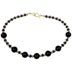 Purple Amethyst with Gold Accents Necklace