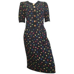 Louis Feraud 1980s Silk Navy Dress Size 6. Never Worn.