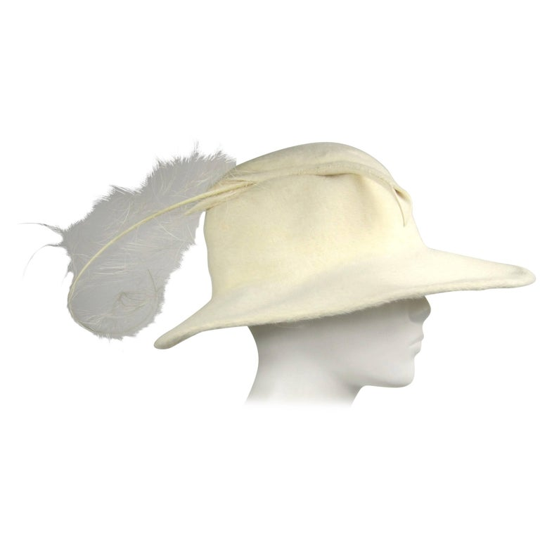 2afd9f626274dd Vintage 1960s Archie Eason Cream Feathered Oversized Fedora Hat For Sale