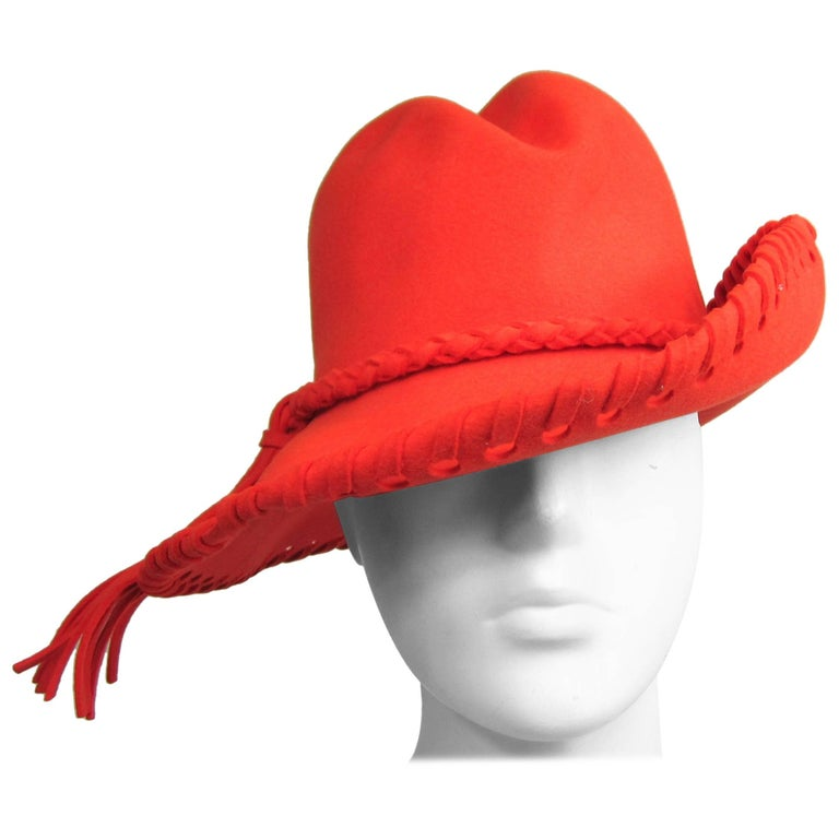 Vintage 1970's Mr. John Classic Red Orange Whipstitch Wool Fedora Hat