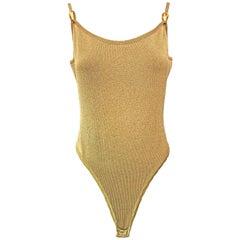 1990s Donna Karan Gold Metallic Bodysuit