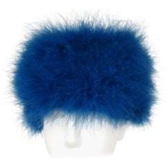 Givenchy Paris Vintage Blue feathered hat, 1960s