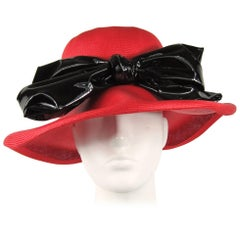 Vintage 1960s Red Mod Straw Black Bow Derby Hat
