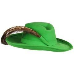 Vintage 1970s Green Vintage Adolfo Feather Wide Brim Hat