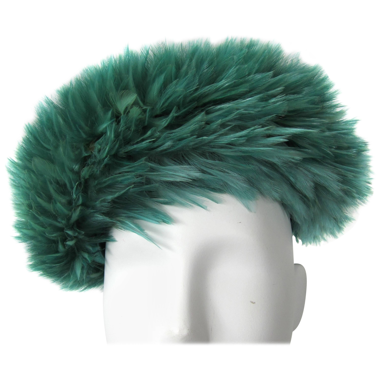 1960s Green Feather Beret Hat De Pinna Salon