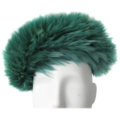 VIntage Green Feathered 1960s Beret Hat