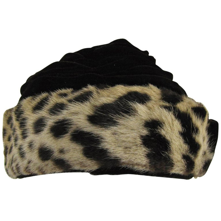 Vintage 1960s Leopard Print Fur Velvet Hat  For Sale