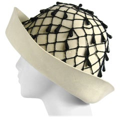 Vintage Rare YSL 1960s Yves Saint Laurent Beaded Cloche Hat