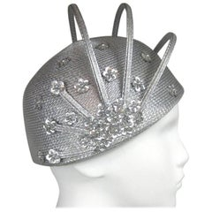 Vintage 1960s Atomic Space age MOD Silver Sculptural Hat