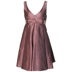 Emporio Armani Grey and Red Check A Line Pleated Dress
