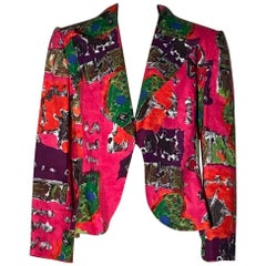 Christian Lacroix Abstract Print Pink and Red Linen Jacket, 1990s