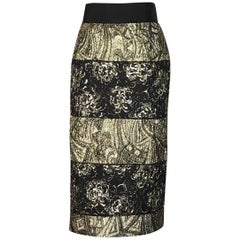 New Dolce & Gabbana Gold and Black Deco Jacquard Stripe Straight Pencil Skirt