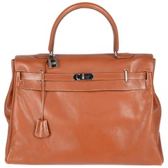 Hermes Paris  XXL tan leather travel Kelly relax bag with silver hardware, sz 50