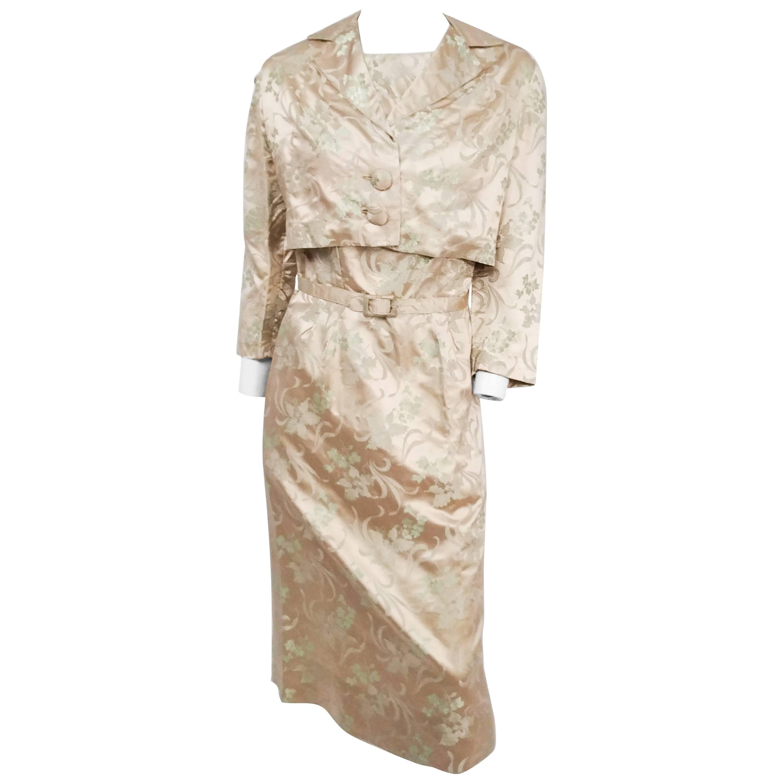 Ivory Silk Jacquard Sheath Dress and Jacket Set, 1960s