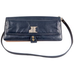Jacques Esterel Navy and Cream Long Shoulder Baguette Bag