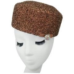 1950's Leslie James Copper Beaded Brown Pillbox Hat
