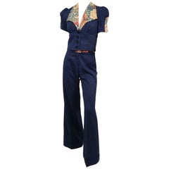 Navy & Floral Flared Pant & Wide Collar Blouse Set, 1970s