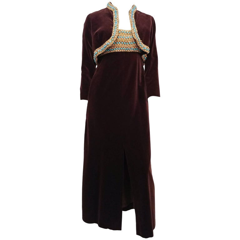 ba3aeffcb5e Dynasty Brown Velvet Beaded Maxi Dress & Bolero, 1960s