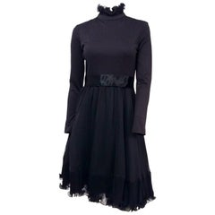 Miss. Magnin Black Cocktail Dress w/ Ruffled Skirt, 1960s
