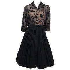 Black Embroidered Organza Illusion Dress, 1950s