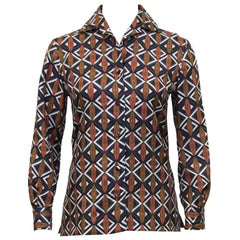 1960s Emilio Pucci Brown and Navy Blue Printed Silk Blouse