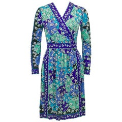 1970s Emilio Pucci Blue Tones Silk & Cashmere Knit Dress