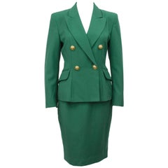 1980s Moschino Cheap and Chic Kelly Green Wool Skirt Suit