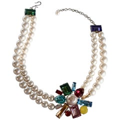 Philippe Ferrandis Glass Pearl and Swarovski Crystal Arlequin Necklace