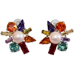 Philippe Ferrandis Arlequin Starburst Glass and Crystal Clip Earrings