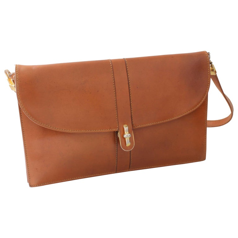 Launer London Clutch Bag Shoulder Purse British Tan Box Leather Rare 70s