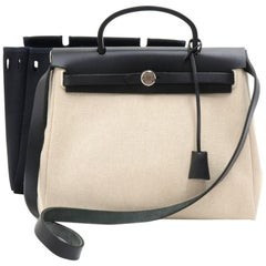 Hermes Herbag PM 2 in 1 Canvas Black Leather Shoulder Bag