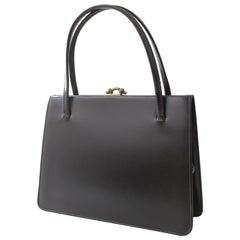 Finnigans Bond Street London Top Handle Bag Black Box Leather Vintage 60s