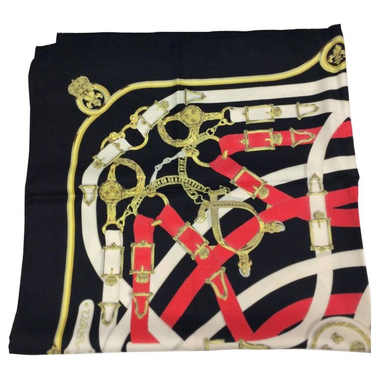 Hermes Black Red Printed Silk Scarf