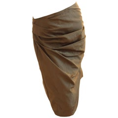 Dries Van Noten Draped Pencil Skirt with Wrap Ties Cotton Blend Taffeta Sz 40