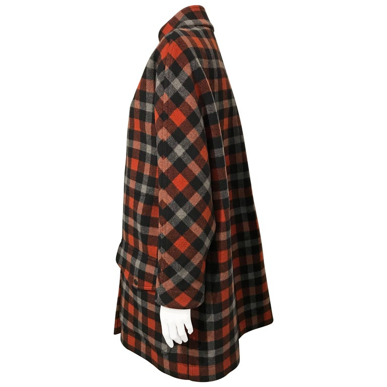 Balenciaga Rust-red, Black And Grey Checkered Coat Sz 36  (Us 4)