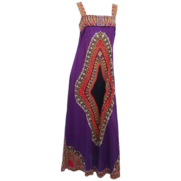 Printed Purple Hippie Maxi Cotton Dress, 1960s For Sale
