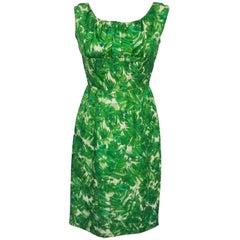 Green Printed Silk Sheath Dress, 1960s