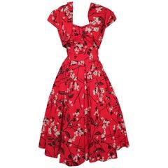 Shaheen Tiki Print Red Dress and Bolero Set, 1950s