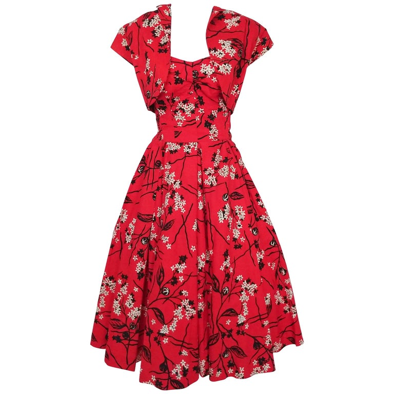 Shaheen Tiki Print Red Dress and Bolero Set, 1950s