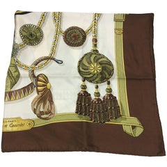 Hermes Frontaux et Cocardes Brown and Green Printed Scarf