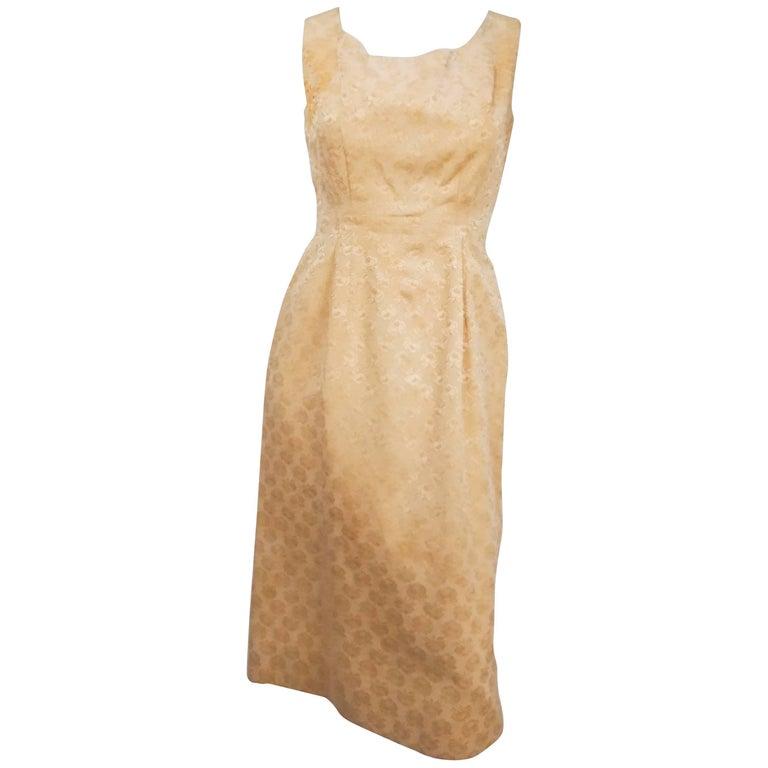 Lilli Ann Yellow Rose Jacquard Cocktail Dress, 1960s