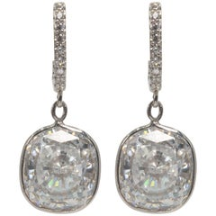 Edwardian Style Cushion Diamond Costume Jewelry Earrings