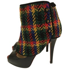Chanel Herringbone Plaid Tweed Red and Multicolor Spats Gaiters Boot Shoe Cover