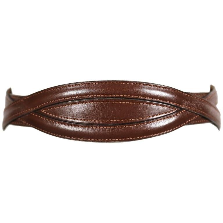 AZZEDINE ALAIA brown leather runway belt - 1990