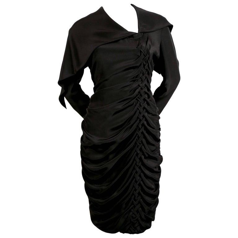 1980's BRUCE OLDFIELD 'braided' black silk dress