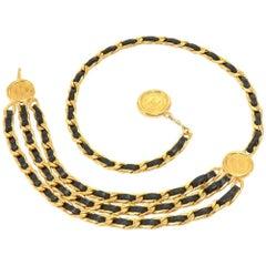 Chanel Triple Chain Medallion Lambskin Leather Belt