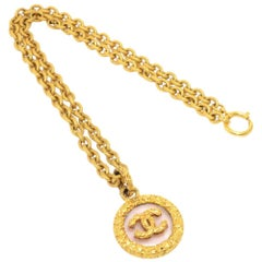 Vintage Chanel Gold Tone CC Logo Magnifying Glass Chain Necklace