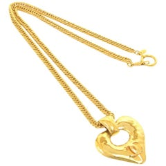 Chanel Gold Tone CC Logo Heart Shaped Chain Necklace